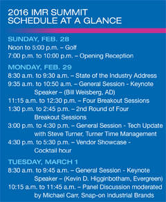 IMR Summit schedule